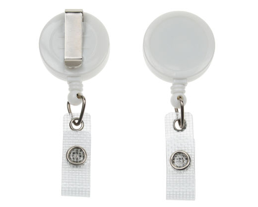 ID Badge Reels with Strap Clip valkoinen (50 kpl pakkaus)